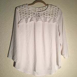 Ann Taylor Off White Blouse Size Large